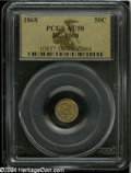 California Fractional Gold: , 1868 50C Liberty Round 50 Cents, BG-1008, Low R.5, AU58 ...