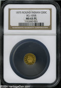 California Fractional Gold: , 1875/3 50C Indian Round 50 Cents, BG-1058, R.3, MS63 ProoflikeNGC....