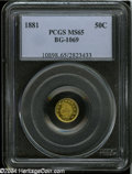 California Fractional Gold: , 1881 50C Indian Round 50 Cents, BG-1069, High R.4, MS65 PCGS....