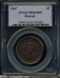 Coins of Hawaii: , 1847 1C Hawaii Cent MS63 Brown PCGS....