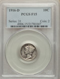 1916-D 10C Fine 15 PCGS. PCGS Population: (167/956). NGC Census: (68/417). CDN: $2,300 Whsle. Bid for NGC/PCGS Fine 15...