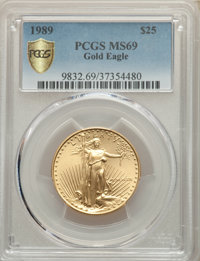 1989 $25 Half-Ounce Gold Eagle MS69 PCGS. PCGS Population: (671/18 and 0/0+). NGC Census: (2806/131 and 0/0+). CDN: $1,9...
