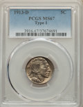 1913-D 5C Type One MS67 PCGS. PCGS Population: (81/3). NGC Census: (24/1). CDN: $1,550 Whsle. Bid for NGC/PCGS MS67. Min...
