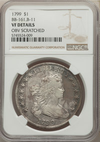 1799 $1 7x6 Stars, B-11, BB-161, R.3, -- Obverse Scratched -- NGC Details. VF....(PCGS# 40052)