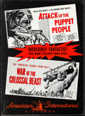 Movie Posters:Horror, Attack of the Puppet People/War of the Colossal Beast Combo & Other Lot (American International, 1958). Overall: Fine/Very Fin... (Total: 4 Items)