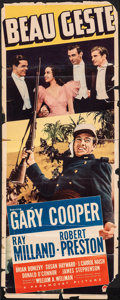 """Movie Posters:Adventure, Beau Geste & Other Lot (Paramount, 1939). Folded, Very Good-. Trimmed Insert (14"""" X 35"""") & Trimmed Mexican Lobby Card (17"""" X... (Total: 2 Items)"""