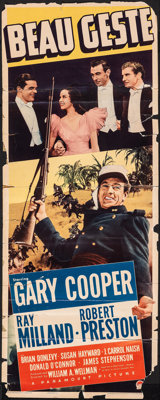 "Beau Geste & Other Lot (Paramount, 1939). Folded, Very Good-. Trimmed Insert (14"" X 35"") & Tri..."