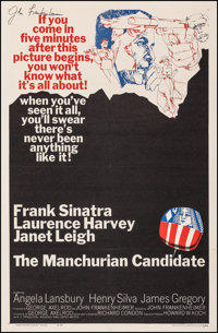 """The Manchurian Candidate (United Artists, 1962). Very Fine- on Linen. Autographed One Sheet (27"""" X 41""""). Thril..."""