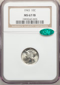1943 10C MS67 Full Bands NGC. CAC. NGC Census: (204/4). PCGS Population: (286/11). CDN: $190 Whsle. Bid for NGC/PCGS MS6...