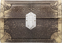"Hermès Ring Lizard Fleche D'Or Clutch with Palladium Hardware X, 2016 Condition: 1 8"" Width x 6"" Height..."