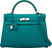 Hermès 32cm Turquoise Togo Leather Retourne Kelly Bag with Palladium Hardware L Square, 2008 Cond