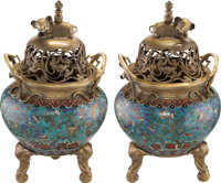 A Pair of Chinese Cloisonné Enamel Fishbowls Mounted as Floor Censers on Carved Hardwood Bases, Ming-Qing Dynasty...