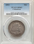 1893 50C Columbian MS63 PCGS. PCGS Population: (1874/2772). NGC Census: (1423/2818). MS63. Mintage 1,550,405. ...(PCGS#...