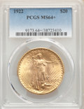 1922 $20 MS64+ PCGS. PCGS Population: (9971/1586). NGC Census: (8836/529). MS64. Mintage 1,375,500....(PCGS# 9173)