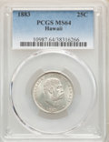 1883 25C Hawaii Quarter MS64 PCGS. PCGS Population: (392/363). NGC Census: (253/280). CDN: $375 Whsle. Bid for NGC/PCGS...
