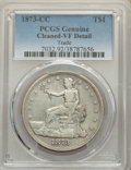 1873-CC T$1 -- Cleaned -- PCGS Genuine. VF Details. Mintage 124,500....(PCGS# 7032)