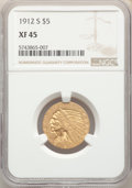 1912-S $5 XF45 NGC. NGC Census: (84/1501). PCGS Population: (113/821). CDN: $400 Whsle. Bid for NGC/PCGS XF45. Mintage 3...