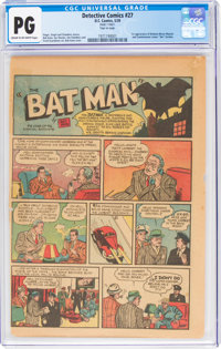 Detective Comics #27 Page 1 Only (DC, 1939) CGC