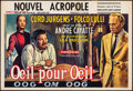 ", An Eye for an Eye (Cobelcine, 1957). Folded, Overall: Fine+. Horizontal Belgian (15"" X 22"") & Photos (18) (12"" X 9.5""). Fore... (Total: 19 Items)"