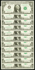 Complete District Star Set ending in 85 Fr. 1904-A*-J*; L* $1 1969A Federal Reserve Star Notes. Choice Crisp Uncirculate...