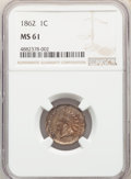 Indian Cents: , 1862 1C MS61 NGC. NGC Census: (152/1514). PCGS Population: (36/2223). CDN: $110 Whsle. Bid for NGC/PCGS MS61. Mintage 28,07...