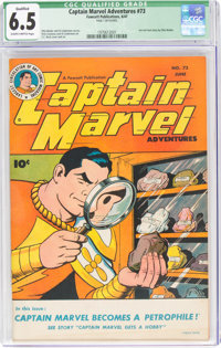 Captain Marvel Adventures #73 (Fawcett Publications, 1947) CGC Qualified FN+ 6.5 Slightly brittle pages