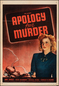 "Apology for Murder & Other Lot (PRC, 1945). Folded, Very Fine-. One Sheets (2) (27"" X 41""). Film Noir..."