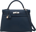 Luxury Accessories:Bags, Hermès 32cm Blue Abysse Tadelakt Leather Retourne Kelly Bag with Palladium Hardware. F Square, 2002. Condition: 3. ...