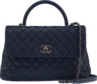 """Chanel Navy Caviar Leather Coco Handle Bag with Aged Ruthenium Hardware Condition: 3 13"""" Width x"""