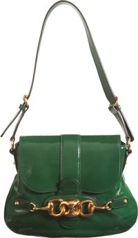 """Gucci Green Patent Leather Horsebit Shoulder Bag Condition: 3 10"""" Width x 8.5"""" Height x 1"""" Width"""