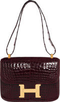"Luxury Accessories:Bags, Hermès Vintage 23cm Bordeaux Caiman Crocodile Single Gusset Constance Bag. Condition: 4. 9"" Width x 7"" Height x 2"" Dep..."