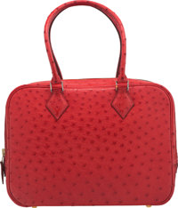 """Hermès 28cm Rouge Vif Ostrich Plume Bag with Gold Hardware G Square, 2003 Condition: 3 11 Width x 8"""" Height..."""