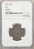 Bust Quarters: , 1835 25C B-5, R.2, AU53 NGC. Pop (2/7), CDN Collector Price ($748.00)
