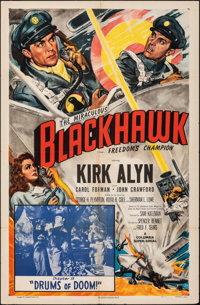 "Blackhawk (Columbia, 1952). Folded, Fine/Very Fine. One Sheet (27"" X 41""). Chapter 12 -- ""Drums of Doom.&..."