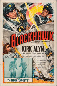 "Blackhawk (Columbia, 1952). Folded, Very Fine-. One Sheet (27"" X 41""). Chapter 5 -- ""Human Targets.""..."