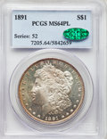 Morgan Dollars: , 1891 $1 MS64 Prooflike PCGS. CAC. PCGS Population: (21/0). NGC Census: (18/0). CDN: $1,650 Whsle. Bid for NGC/PCGS MS64. ...