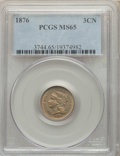 Three Cent Nickels, 1876 3CN MS65 PCGS. PCGS Population: (35/11). NGC Census: (18/4). CDN: $1,275 Whsle. Bid for NGC/PCGS MS65. Mintage 162,000...