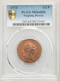 1773 1/2 P Virginia Halfpenny, Period, MS64 Red PCGS. PCGS Population: (43/2 and 0/0+). NGC Census: (4/0 and 0/0+). ...(...