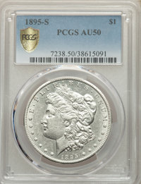 1895-S $1 AU50 PCGS. PCGS Population: (138/1876 and 0/78+). NGC Census: (70/1108 and 0/11+). CDN: $1,200 Whsle. Bid for...