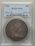 Early Dollars, 1799 $1 7x6 Stars VF35 PCGS. PCGS Population: (401/1159). NGC Census: (142/790). VF35. Mintage 423,515. ...