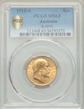 Australia: Edward VII gold Sovereign 1910-S MS63 PCGS