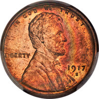 1917-S 1C MS64 Red and Brown PCGS. PCGS Population: (235/54 and 3/1+). NGC Census: (92/22 and 1/0+). CDN: $275 Whsle. Bi...