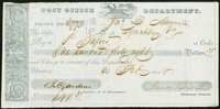 (Washington, DC)- Post Office Department Draft $148.36 Feb. 21, 1838 Very Fine