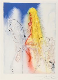 Salvador Dalí (1904-1989) Lady Godiva, from Daliean Horses, 1972 Lithograph in colors on Rives paper 26-3/4 x 19-...