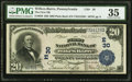 National Bank Notes:Pennsylvania, Wilkes-Barre, PA - $20 1902 Plain Back Fr. 650 The First National Bank Ch. # (E)30 PMG Choice Very Fine 35.. ...