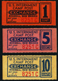 Miscellaneous:Other, Roswell, NM- U.S. Internment Camp Post Exchange 1¢; 5¢; 10¢ ND circa 1943-46 Feller US-1630; 1631; 1632 Choice Crisp Uncircula... (Total: 3 items)