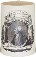 """Political:3D & Other Display (pre-1896), George Washington: """"Long Live the President"""" Liverpool Tankard. ..."""