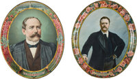 Theodore Roosevelt & Alton B. Parker: Pair Of 1904 Campaign Tin Portrait Trays.... (Total: 2 Items)