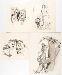 Bob Horvath Tarzan Fanzine Illustrations and Additional Historical/Adventure Pieces Original Art Group of 7 (1967-... (T...