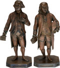 Political:3D & Other Display (pre-1896), George Washington and Benjamin Franklin: Bronze Statuettes.... (Total: 2 Items)